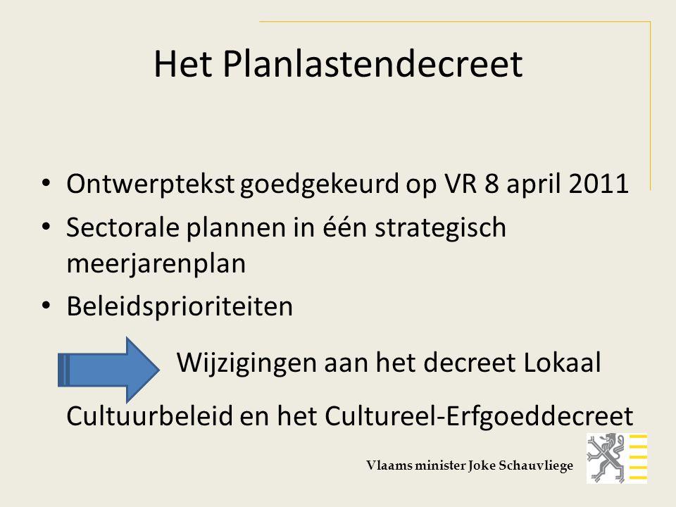 Het Planlastendecreet Ontwerptekst goedgekeurd op VR 8 april 2011 Sectorale plannen in één strategisch meerjarenplan Beleidsprioriteiten Wijzigingen aan het decreet Lokaal Cultuurbeleid en het Cultureel-Erfgoeddecreet Vlaams minister Joke Schauvliege