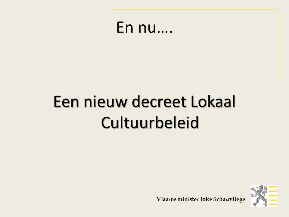 Nog steeds drie ankerpunten Het gemeentelijk Cultuurbeleid Het Cultuurcentrum De Bibliotheek Vlaams minister Joke Schauvliege