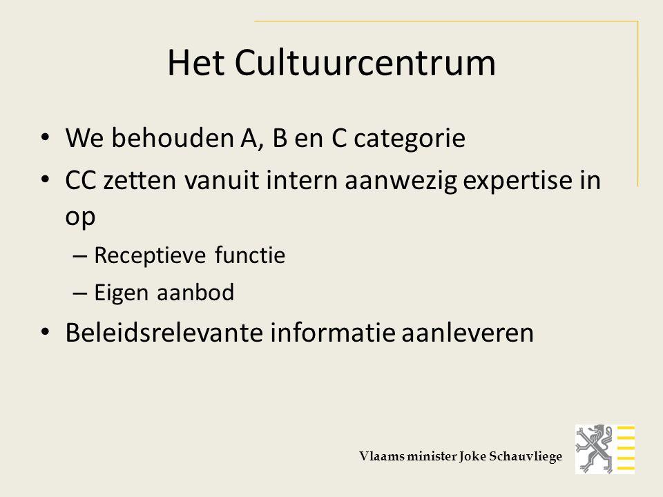 Het Cultuurcentrum We behouden A, B en C categorie CC zetten vanuit intern aanwezig expertise in op – Receptieve functie – Eigen aanbod Beleidsrelevante informatie aanleveren Vlaams minister Joke Schauvliege