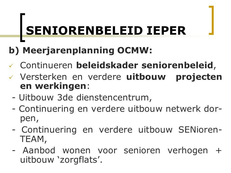 SENIORENBELEID IEPER b) Meerjarenplanning OCMW: Continueren beleidskader seniorenbeleid, Versterken en verdere uitbouw projecten en werkingen: - Uitbo