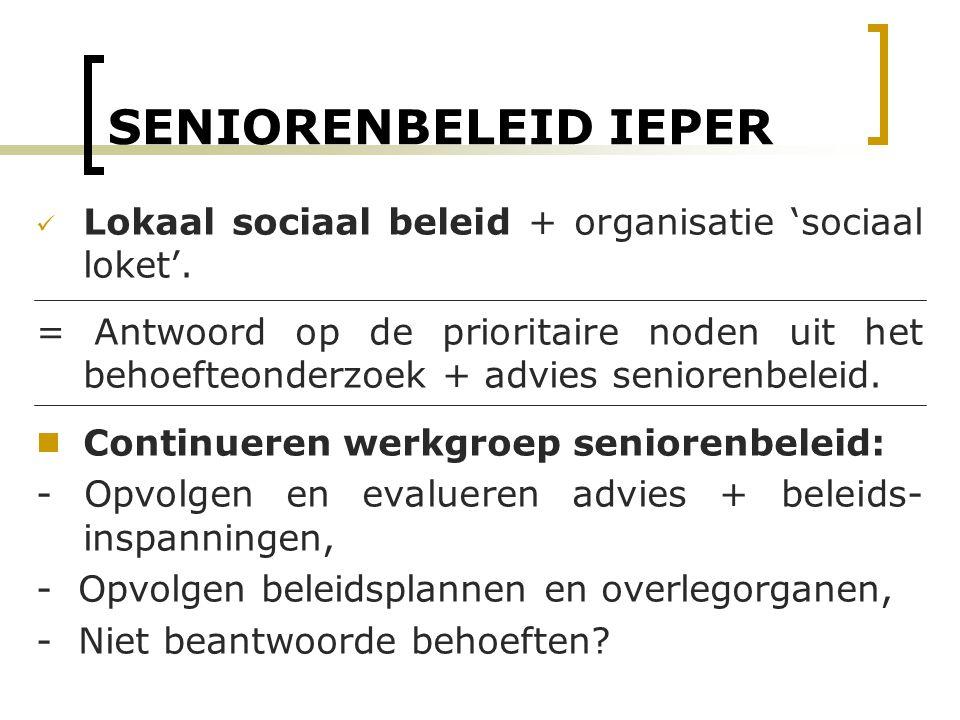 SENIORENBELEID IEPER Lokaal sociaal beleid + organisatie 'sociaal loket'. = Antwoord op de prioritaire noden uit het behoefteonderzoek + advies senior