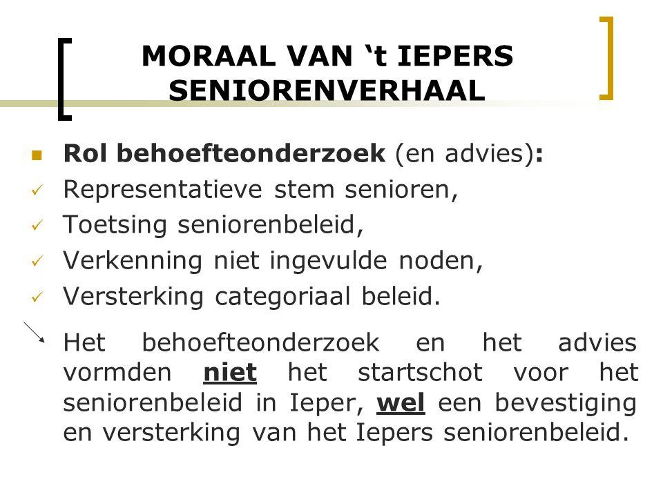 MORAAL VAN 't IEPERS SENIORENVERHAAL Rol behoefteonderzoek (en advies): Representatieve stem senioren, Toetsing seniorenbeleid, Verkenning niet ingevu