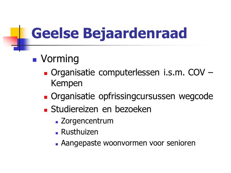 Geelse Bejaardenraad Vorming Organisatie computerlessen i.s.m.