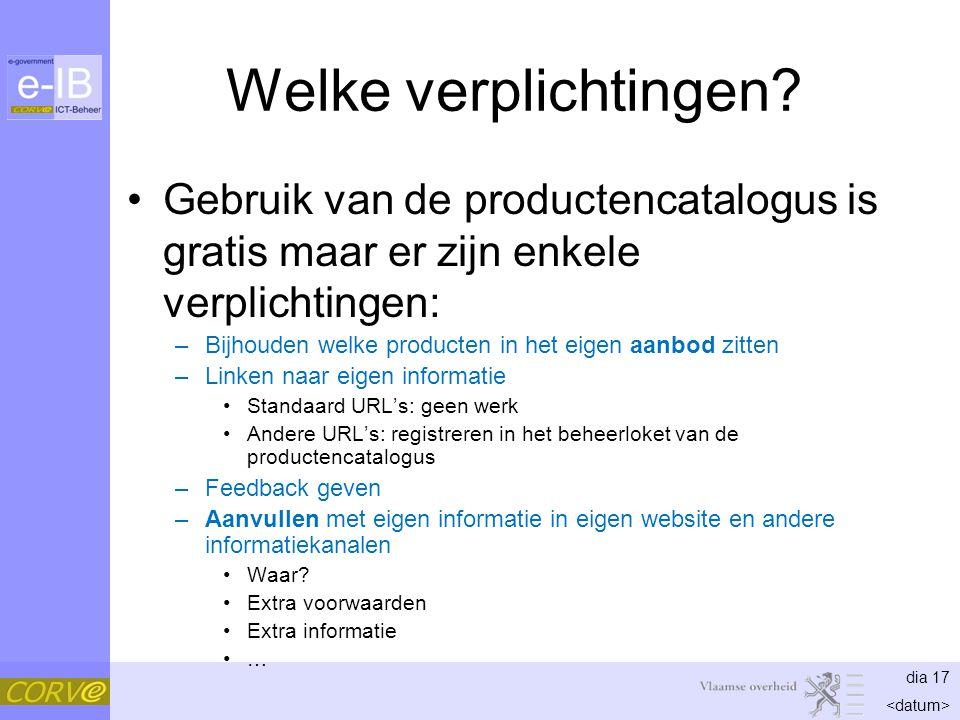 dia 17 Welke verplichtingen? Gebruik van de productencatalogus is gratis maar er zijn enkele verplichtingen: –Bijhouden welke producten in het eigen a