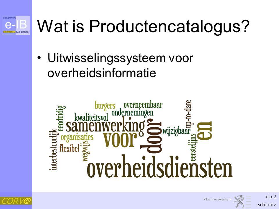 dia 2 Wat is Productencatalogus? Uitwisselingssysteem voor overheidsinformatie