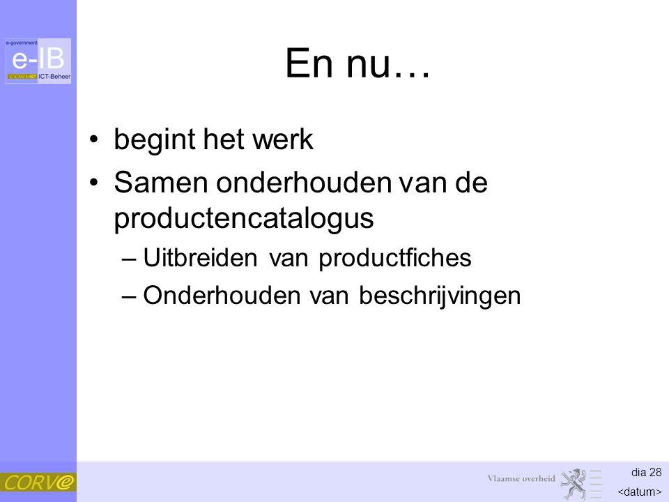 dia 28 En nu… begint het werk Samen onderhouden van de productencatalogus –Uitbreiden van productfiches –Onderhouden van beschrijvingen