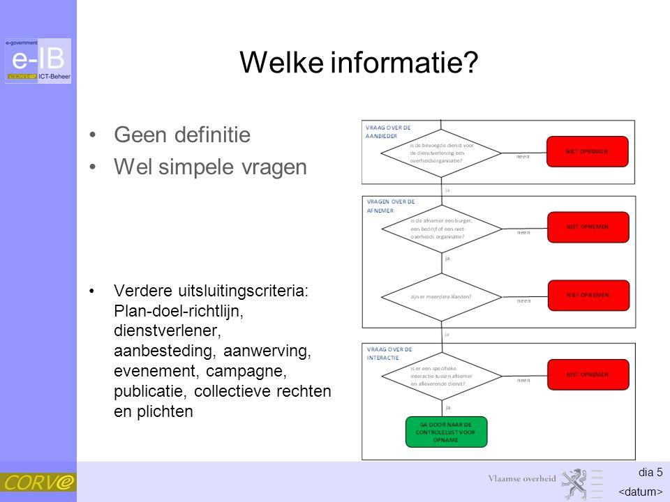 dia 5 Welke informatie? Geen definitie Wel simpele vragen Verdere uitsluitingscriteria: Plan-doel-richtlijn, dienstverlener, aanbesteding, aanwerving,