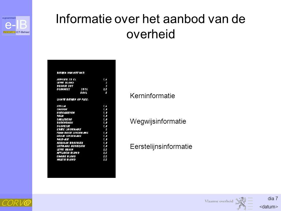dia 7 Informatie over het aanbod van de overheid Kerninformatie Wegwijsinformatie Eerstelijnsinformatie