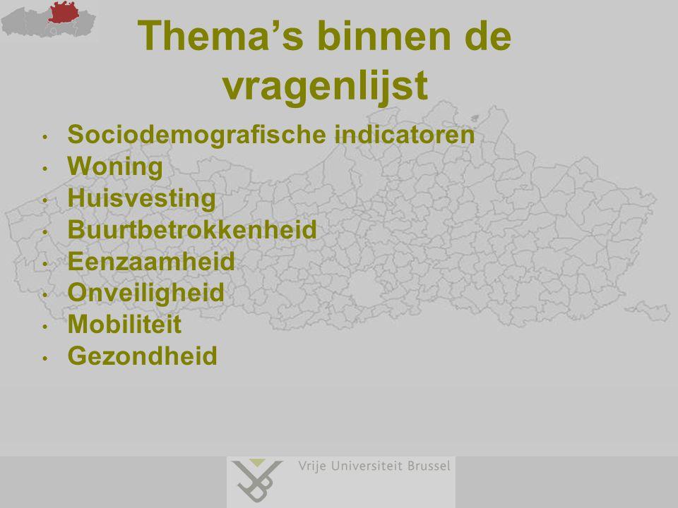 Thema's binnen de vragenlijst Sociodemografische indicatoren Woning Huisvesting Buurtbetrokkenheid Eenzaamheid Onveiligheid Mobiliteit Gezondheid