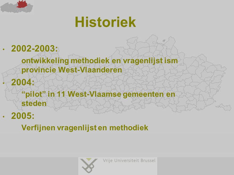 """Historiek 2002-2003: ontwikkeling methodiek en vragenlijst ism provincie West-Vlaanderen 2004: """"pilot"""" in 11 West-Vlaamse gemeenten en steden 2005: Ve"""