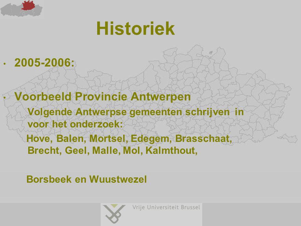 Historiek 2005-2006: Voorbeeld Provincie Antwerpen Volgende Antwerpse gemeenten schrijven in voor het onderzoek: Hove, Balen, Mortsel, Edegem, Brassch