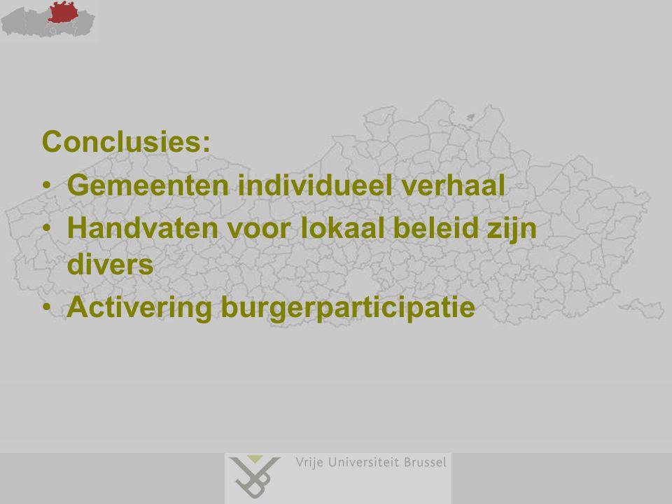 Conclusies: Gemeenten individueel verhaal Handvaten voor lokaal beleid zijn divers Activering burgerparticipatie