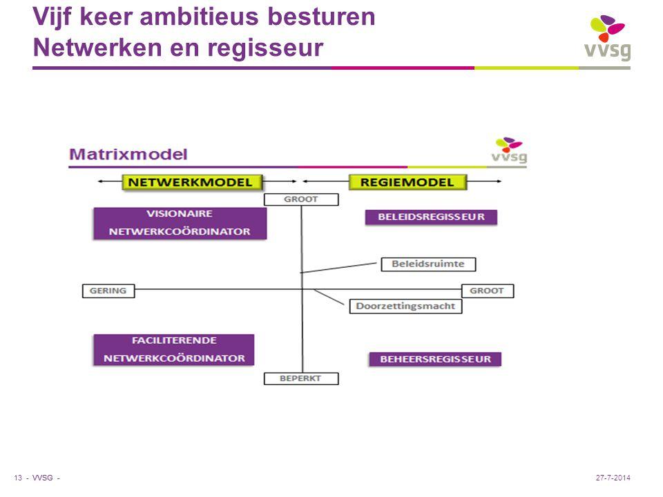 VVSG - Vijf keer ambitieus besturen Netwerken en regisseur 13 -27-7-2014