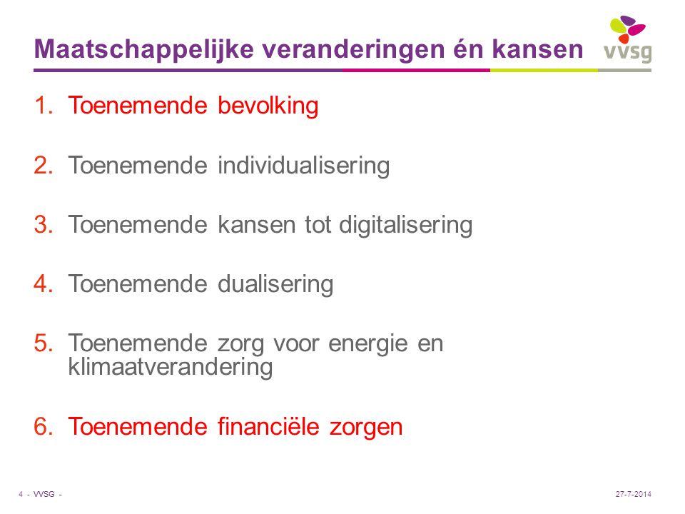 VVSG - Maatschappelijke veranderingen én kansen 1.Toenemende bevolking 2.Toenemende individualisering 3.Toenemende kansen tot digitalisering 4.Toeneme