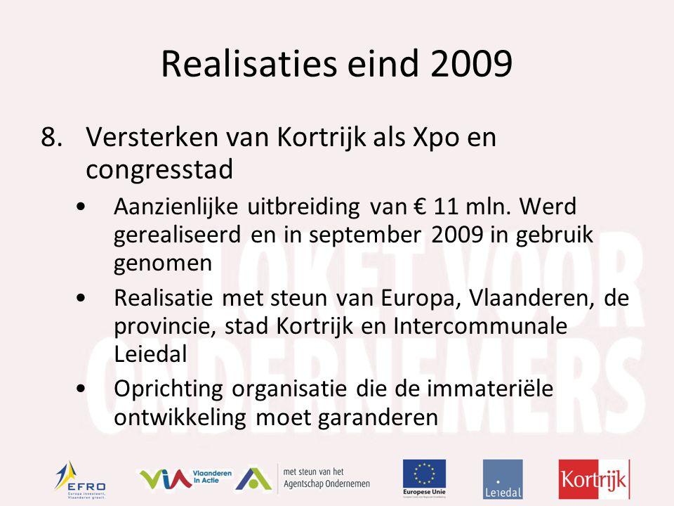 Realisaties eind 2009 8.Versterken van Kortrijk als Xpo en congresstad Aanzienlijke uitbreiding van € 11 mln.