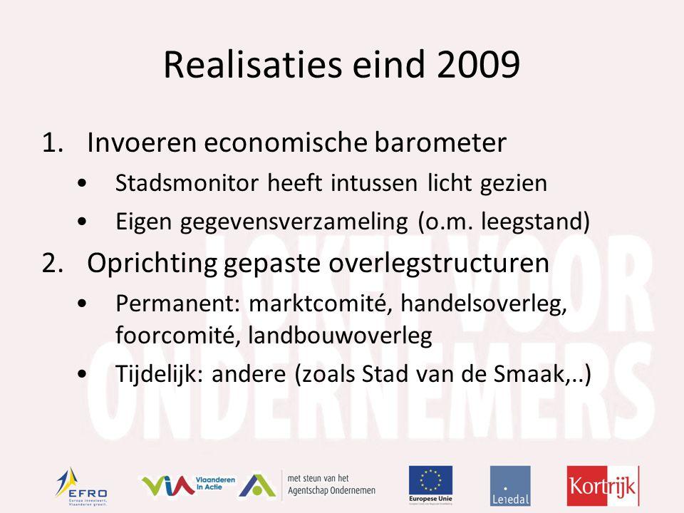 Realisaties eind 2009 1.Invoeren economische barometer Stadsmonitor heeft intussen licht gezien Eigen gegevensverzameling (o.m.