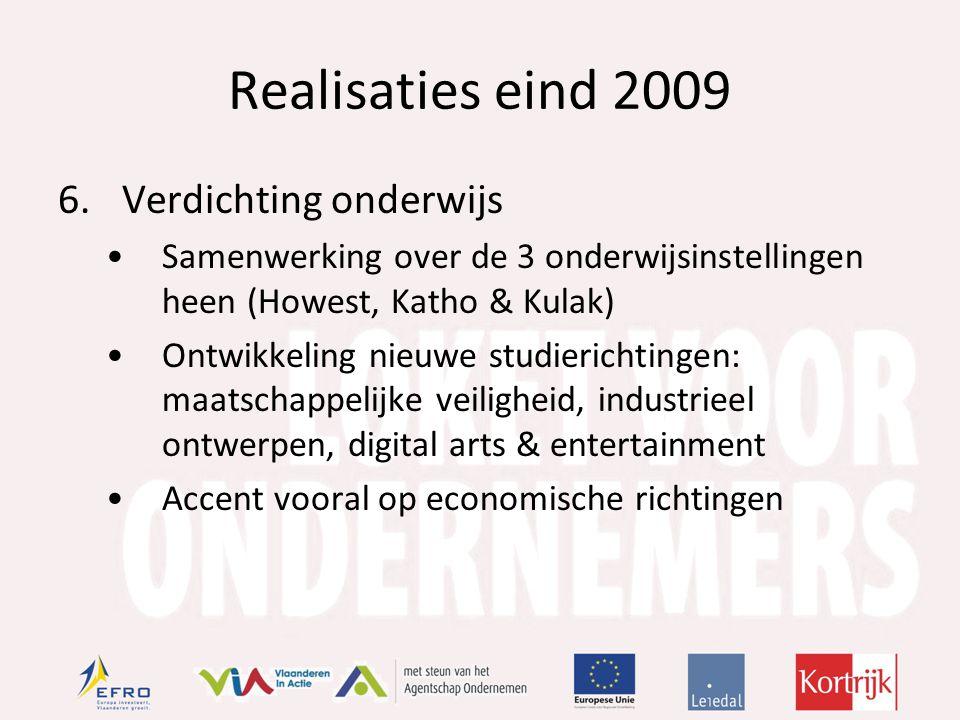 Realisaties eind 2009 6.Verdichting onderwijs Samenwerking over de 3 onderwijsinstellingen heen (Howest, Katho & Kulak) Ontwikkeling nieuwe studierichtingen: maatschappelijke veiligheid, industrieel ontwerpen, digital arts & entertainment Accent vooral op economische richtingen