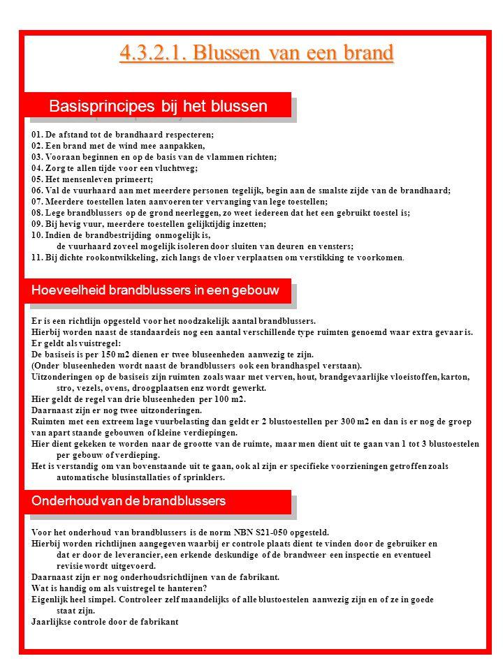 Basisprincipes bij het blussen Onderhoud van de brandblussers Hoeveelheid brandblussers in een gebouw 01. De afstand tot de brandhaard respecteren; 02