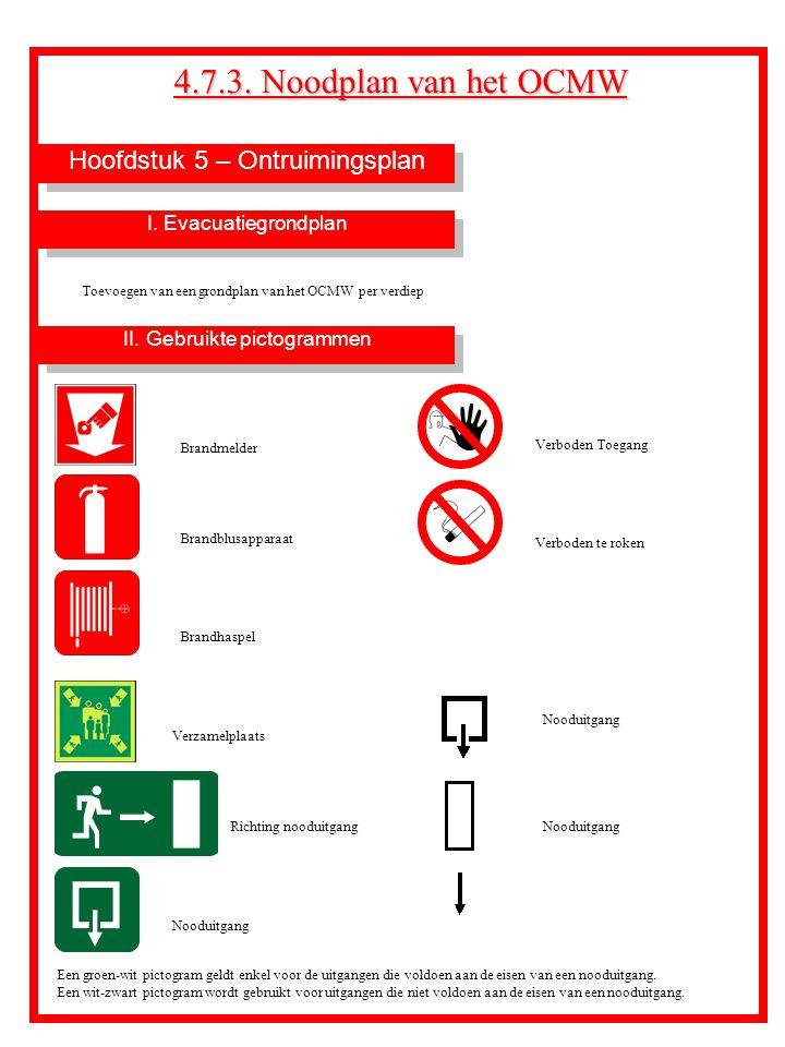 Hoofdstuk 5 – Ontruimingsplan 4.7.3. Noodplan van het OCMW II. Gebruikte pictogrammen I. Evacuatiegrondplan Toevoegen van een grondplan van het OCMW p