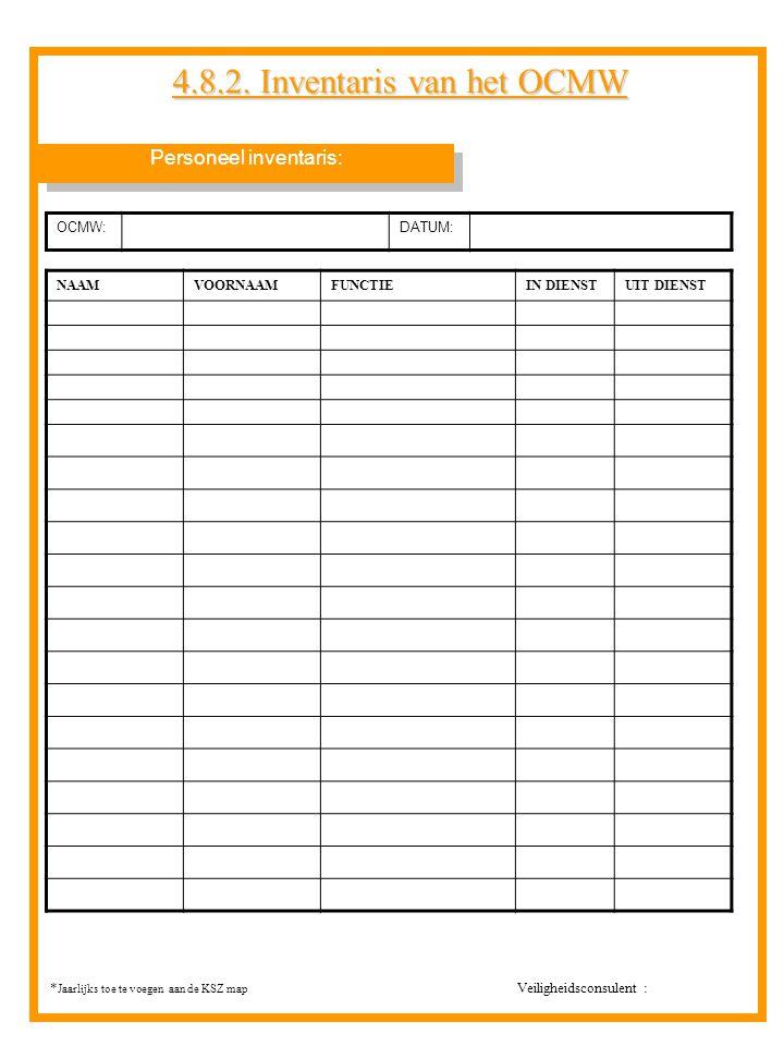 Personeel inventaris: 4.8.2. Inventaris van het OCMW NAAMVOORNAAMFUNCTIEIN DIENSTUIT DIENST OCMW:DATUM: * Jaarlijks toe te voegen aan de KSZ map Veili