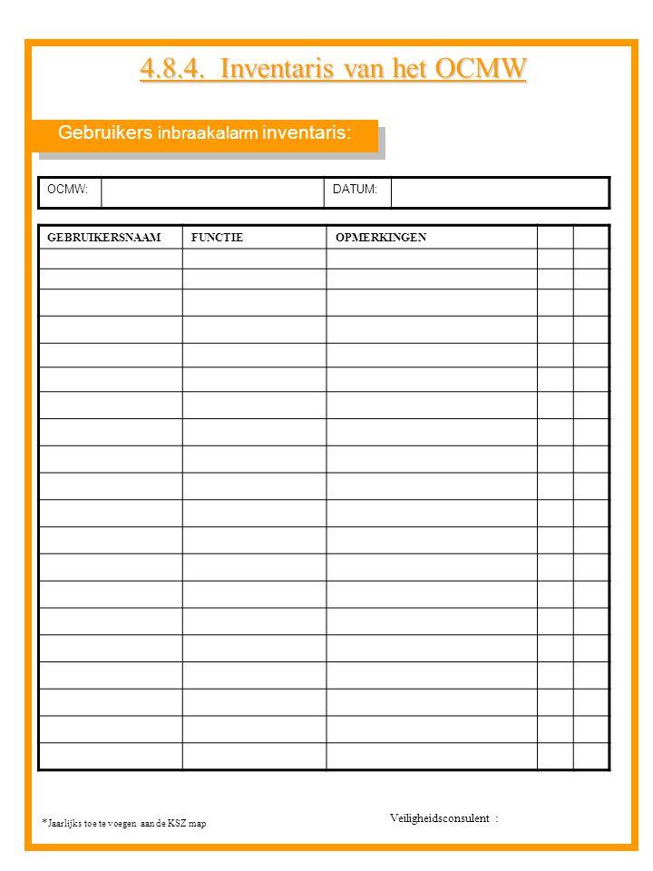 Gebruikers inbraakalarm inventaris: 4.8.4. Inventaris van het OCMW GEBRUIKERSNAAMFUNCTIEOPMERKINGEN OCMW:DATUM: * Jaarlijks toe te voegen aan de KSZ m
