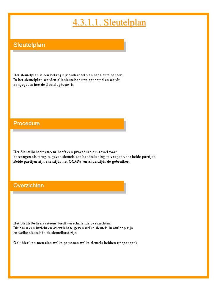Sleutelplan Overzichten Procedure Het sleutelplan is een belangrijk onderdeel van het sleutelbeheer. In het sleutelplan worden alle sleutelsoorten gen