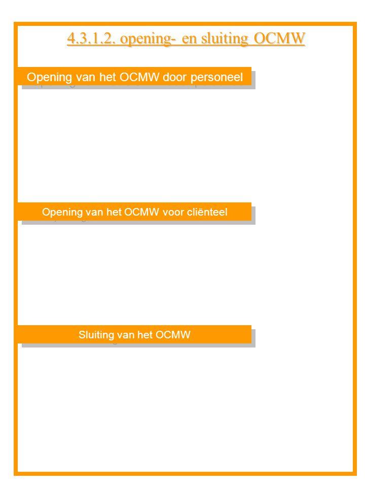 Opening van het OCMW door personeel Sluiting van het OCMW Opening van het OCMW voor cliënteel 4.3.1.2. opening- en sluiting OCMW