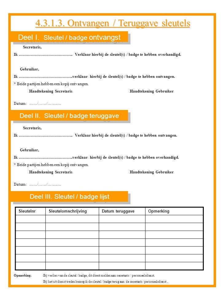 Deel I. Sleutel / badge ontvangst Deel III. Sleutel / badge lijst Deel II. Sleutel / badge teruggave Secretaris, Ik ………………………………….. Verklaar hierbij d