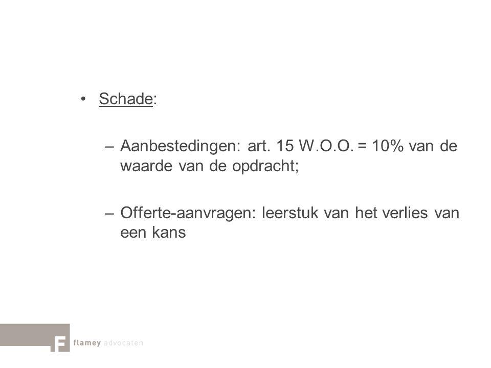Schade: –Aanbestedingen: art. 15 W.O.O. = 10% van de waarde van de opdracht; –Offerte-aanvragen: leerstuk van het verlies van een kans