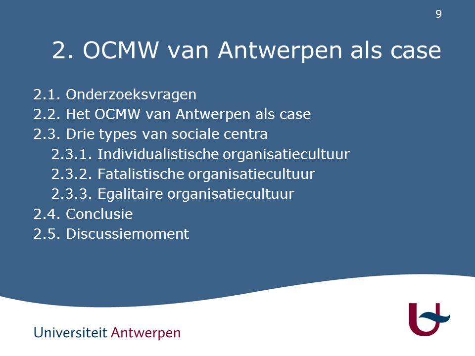 9 2. OCMW van Antwerpen als case 2.1. Onderzoeksvragen 2.2. Het OCMW van Antwerpen als case 2.3. Drie types van sociale centra 2.3.1. Individualistisc