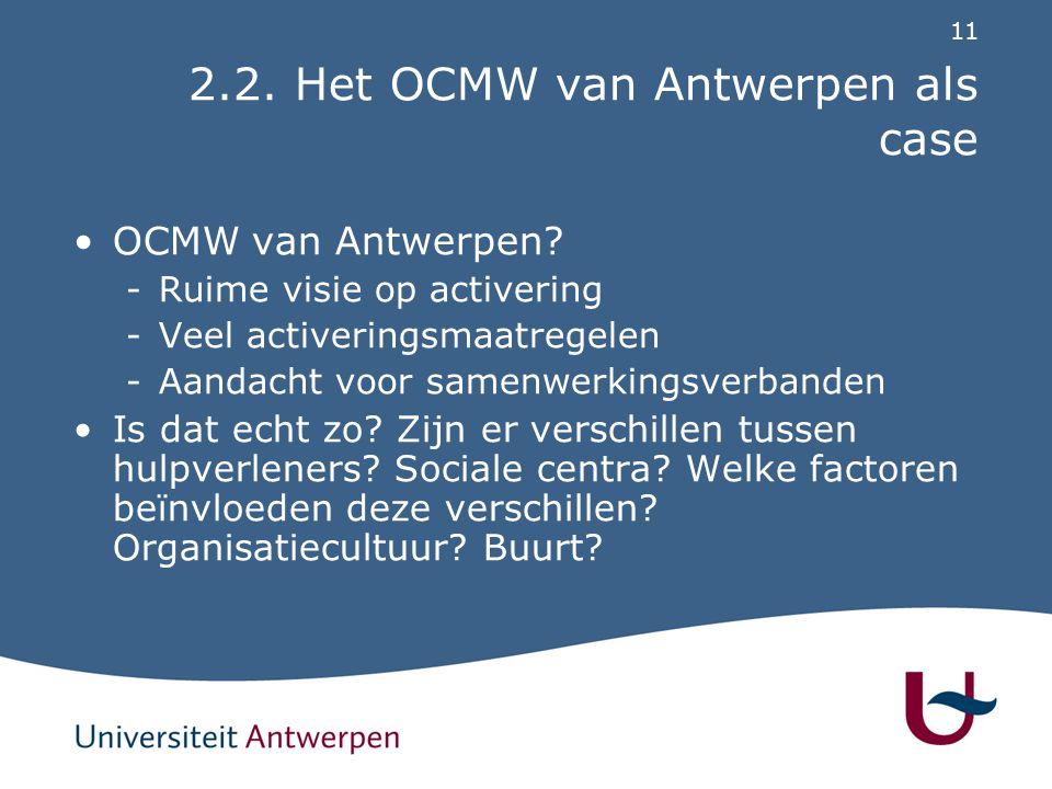 11 2.2. Het OCMW van Antwerpen als case OCMW van Antwerpen? -Ruime visie op activering -Veel activeringsmaatregelen -Aandacht voor samenwerkingsverban