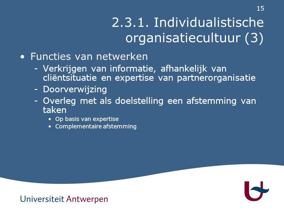15 2.3.1. Individualistische organisatiecultuur (3) Functies van netwerken -Verkrijgen van informatie, afhankelijk van cliëntsituatie en expertise van