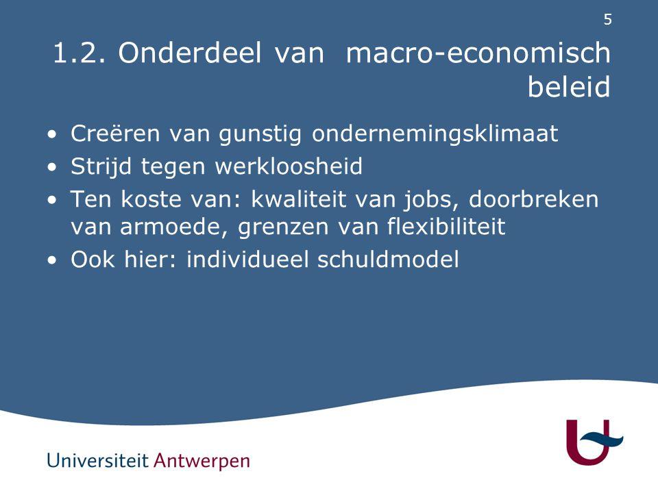 5 1.2. Onderdeel van macro-economisch beleid Creëren van gunstig ondernemingsklimaat Strijd tegen werkloosheid Ten koste van: kwaliteit van jobs, door