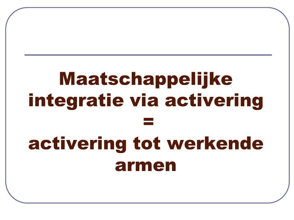 Maatschappelijke integratie via activering = activering tot werkende armen