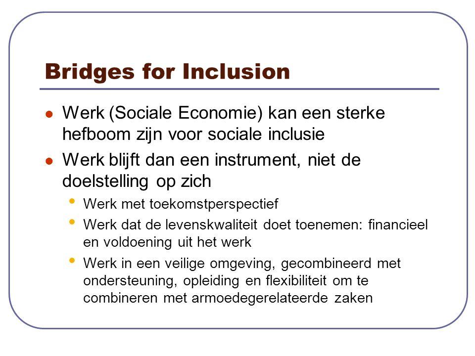 Bridges for Inclusion Werk (Sociale Economie) kan een sterke hefboom zijn voor sociale inclusie Werk blijft dan een instrument, niet de doelstelling op zich Werk met toekomstperspectief Werk dat de levenskwaliteit doet toenemen: financieel en voldoening uit het werk Werk in een veilige omgeving, gecombineerd met ondersteuning, opleiding en flexibiliteit om te combineren met armoedegerelateerde zaken
