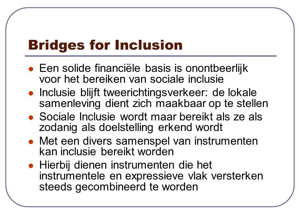 Bridges for Inclusion Een solide financiële basis is onontbeerlijk voor het bereiken van sociale inclusie Inclusie blijft tweerichtingsverkeer: de lokale samenleving dient zich maakbaar op te stellen Sociale Inclusie wordt maar bereikt als ze als zodanig als doelstelling erkend wordt Met een divers samenspel van instrumenten kan inclusie bereikt worden Hierbij dienen instrumenten die het instrumentele en expressieve vlak versterken steeds gecombineerd te worden