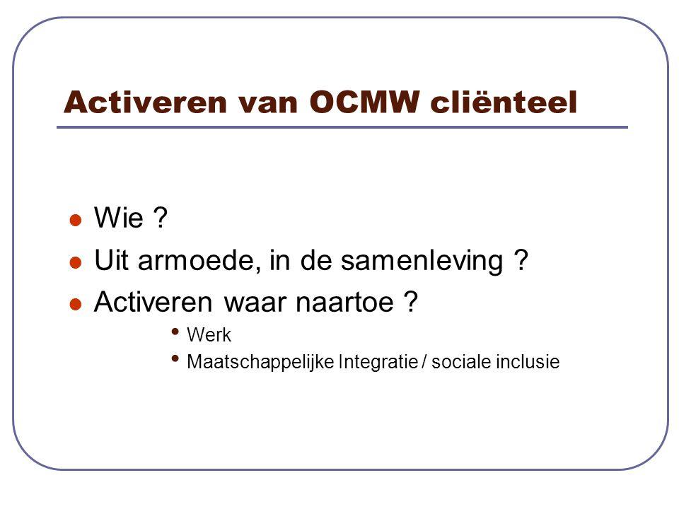 Activeren van OCMW cliënteel Wie . Uit armoede, in de samenleving .