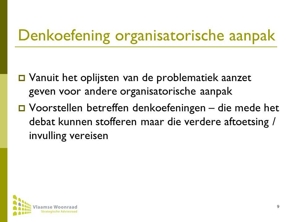 9 Denkoefening organisatorische aanpak  Vanuit het oplijsten van de problematiek aanzet geven voor andere organisatorische aanpak  Voorstellen betreffen denkoefeningen – die mede het debat kunnen stofferen maar die verdere aftoetsing / invulling vereisen