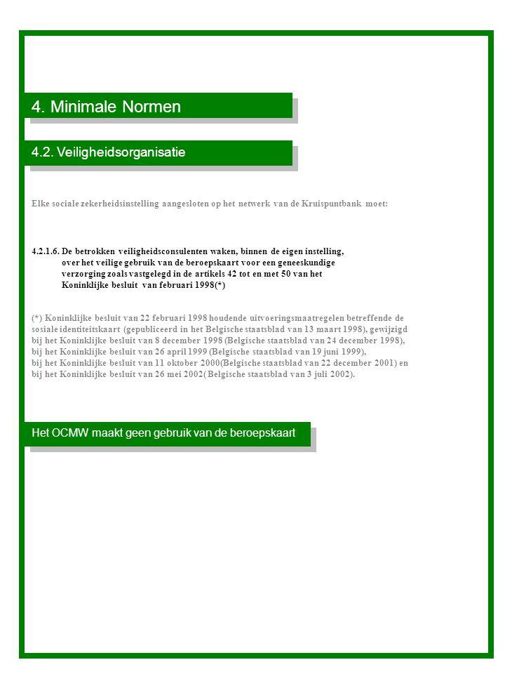 4.Minimale Normen Het OCMW maakt geen gebruik van de beroepskaart 4.2.