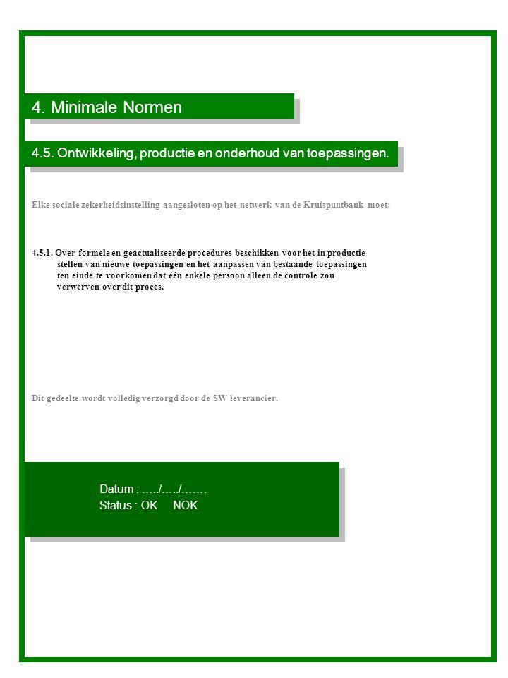 4.Minimale Normen 4.5. Ontwikkeling, productie en onderhoud van toepassingen.