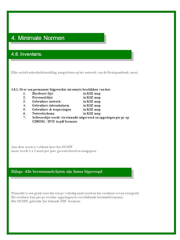 4.Minimale Normen 4.8. Inventaris.