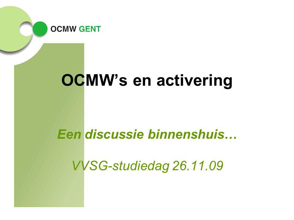 OCMW's en activering Een discussie binnenshuis… VVSG-studiedag 26.11.09