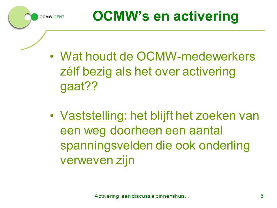 Activering, een discussie binnenshuis...5 OCMW's en activering Wat houdt de OCMW-medewerkers zélf bezig als het over activering gaat?.