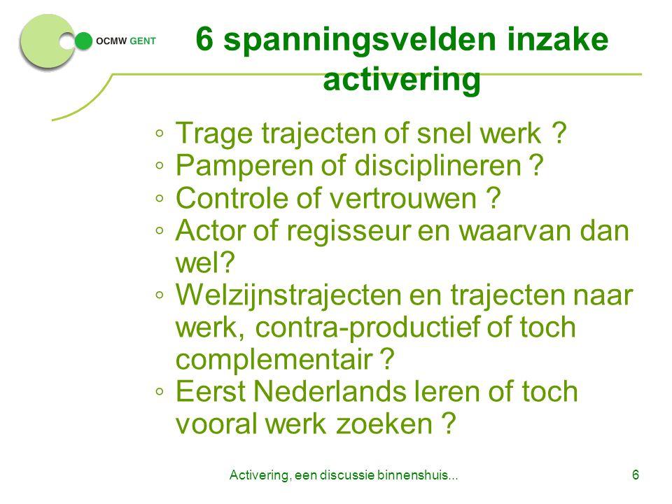 Activering, een discussie binnenshuis...6 6 spanningsvelden inzake activering ◦Trage trajecten of snel werk .