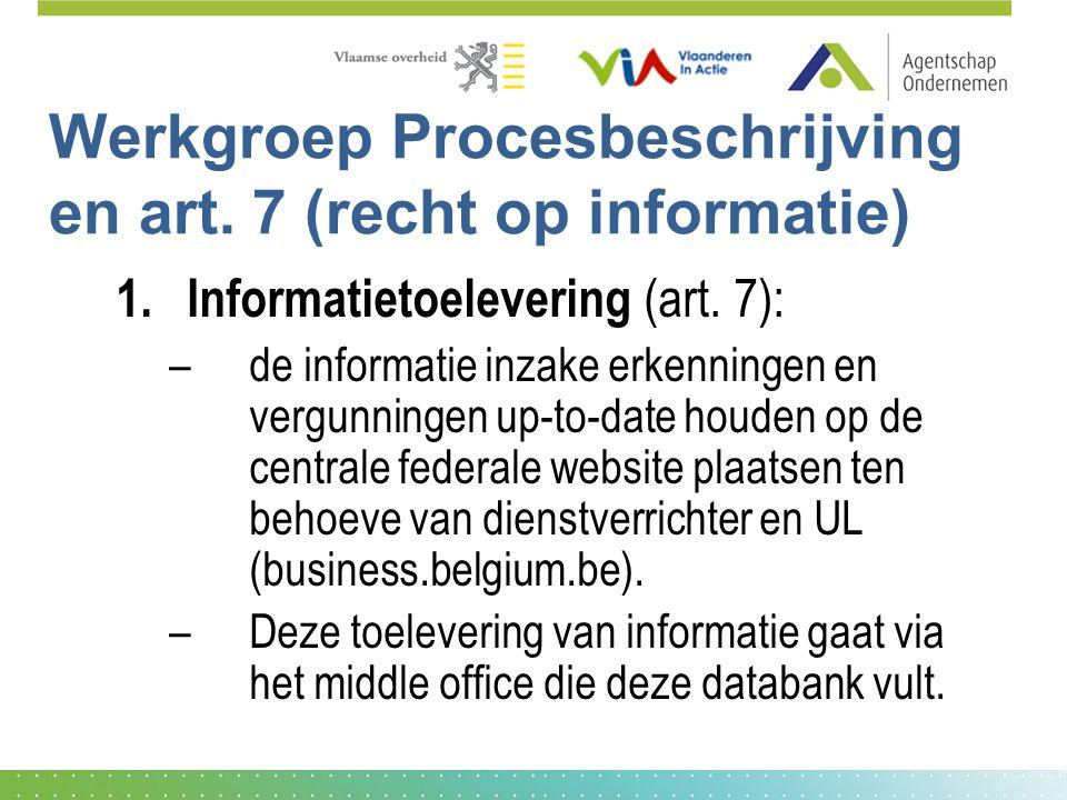 Werkgroep Procesbeschrijving en art. 7 (recht op informatie) 1.Informatietoelevering (art. 7): –de informatie inzake erkenningen en vergunningen up-to