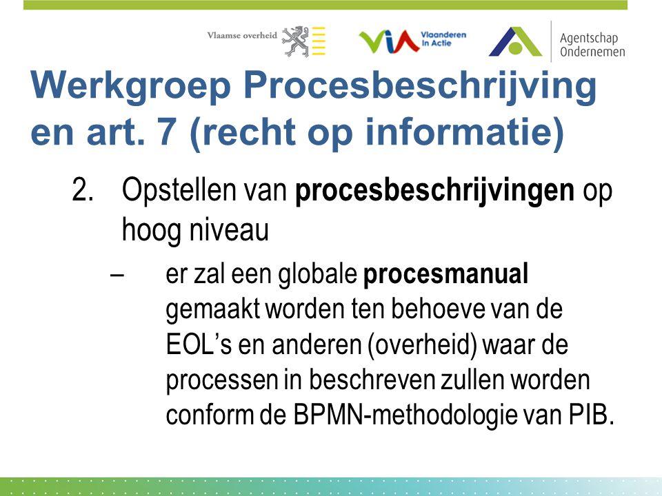 Werkgroep Procesbeschrijving en art. 7 (recht op informatie) 2.Opstellen van procesbeschrijvingen op hoog niveau –er zal een globale procesmanual gema