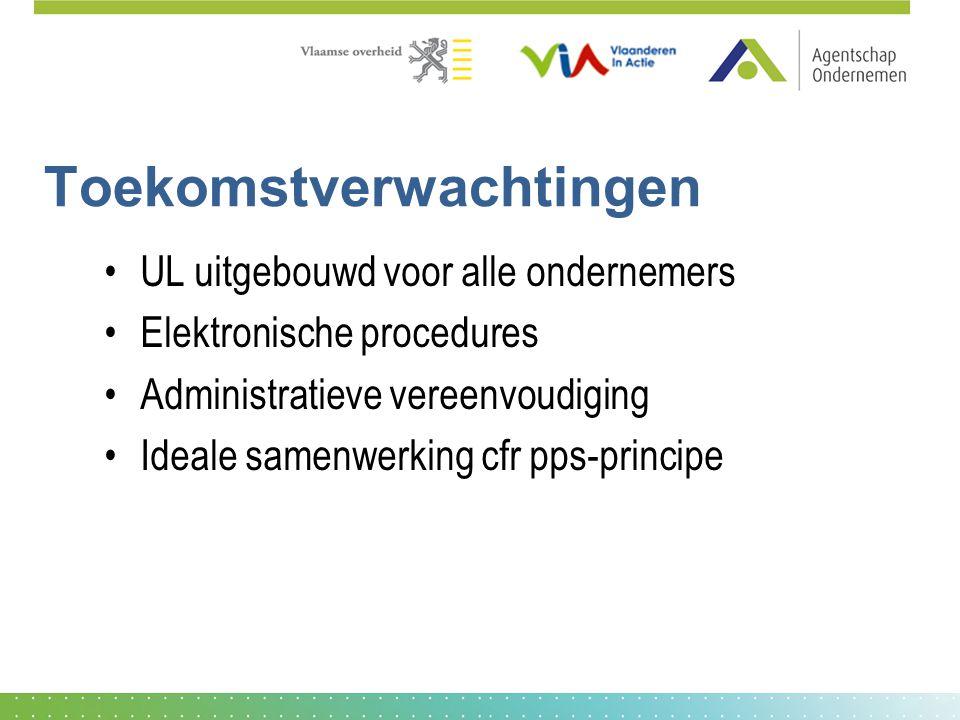 Toekomstverwachtingen UL uitgebouwd voor alle ondernemers Elektronische procedures Administratieve vereenvoudiging Ideale samenwerking cfr pps-principe