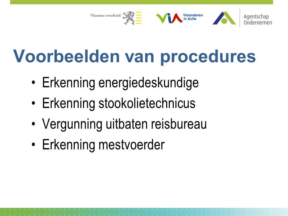 Voorbeelden van procedures Erkenning energiedeskundige Erkenning stookolietechnicus Vergunning uitbaten reisbureau Erkenning mestvoerder