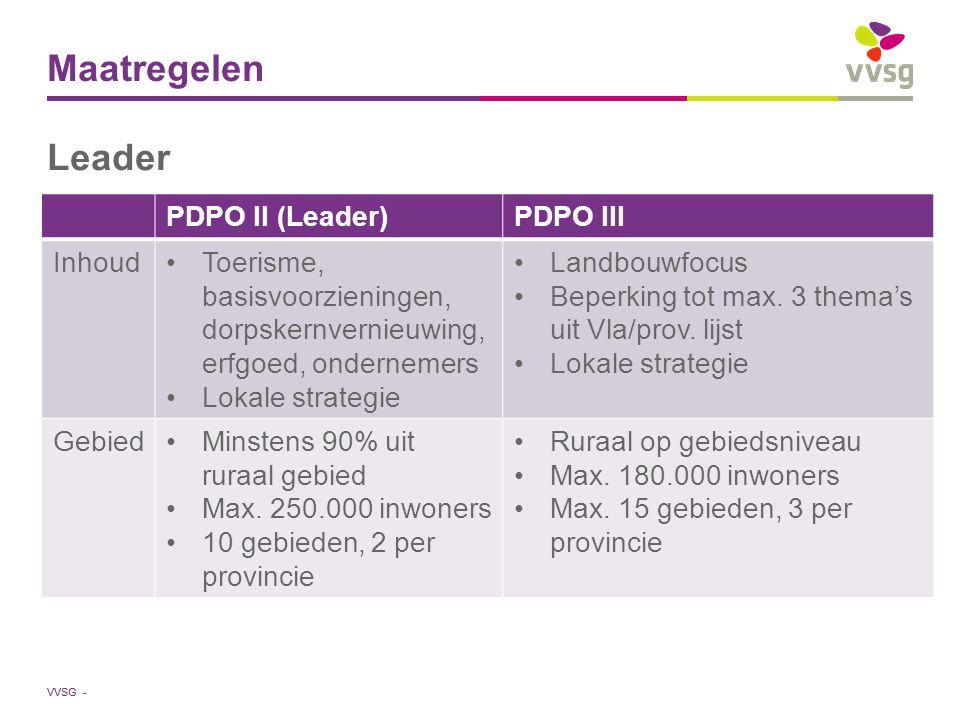 VVSG - Maatregelen Leader PDPO II (Leader)PDPO III InhoudToerisme, basisvoorzieningen, dorpskernvernieuwing, erfgoed, ondernemers Lokale strategie Landbouwfocus Beperking tot max.