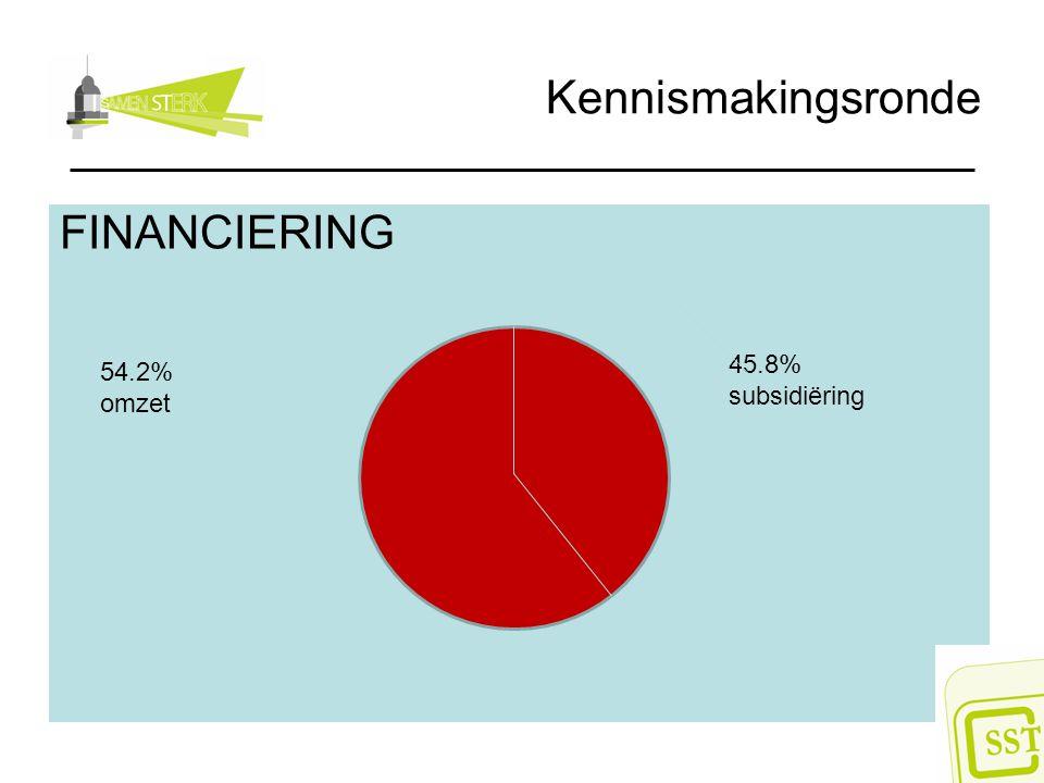 Kennismakingsronde FINANCIERING 45.8% subsidiëring 54.2% omzet